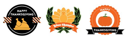 Thanksgiving badges. Set of 3 badges and labels for web and printed materials. They read Give Thanks and Happy Thanksgiving Stock Photo
