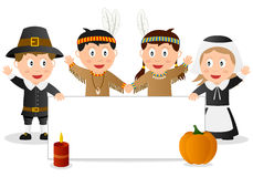 Thanksgiving Banner with Kids. Four Halloween kids in costume (Pilgrims and Native) with a pumpkin, a red candle and a blank banner. Empty space for your message Royalty Free Stock Image
