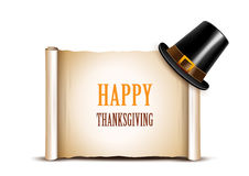 Thanksgiving banner with pilgrim hat Royalty Free Stock Photography