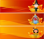 Thanksgiving Banners. Three Cute Thanksgiving and Autumn Web Banners Stock Photo