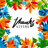 Thanksgiving banners with multicolor autumn leaves and calligraphy lettering. Royalty Free Stock Photography