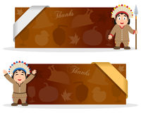 Thanksgiving Banners with Native Man. Two brown Thanksgiving Day banners with a cute cartoon Native man character smiling and greeting, autumnal elements and a Royalty Free Stock Photography