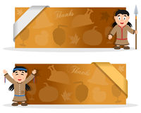 Thanksgiving Banners with Native Woman. Two yellow Thanksgiving Day banners with a cute cartoon Native woman character smiling and greeting, autumnal elements Stock Images