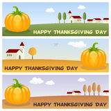 Thanksgiving Banners with Pumpkin Royalty Free Stock Image