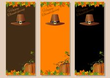 Thanksgiving banners set. Thanksgiving background. Multicolored banners set with pumpkins, fallen leaves and pilgrims hat. Vector illustration Royalty Free Stock Photos