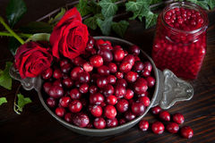Thanksgiving Berries And Roses Stock Photos