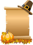 Thanksgiving Blank Parchment Scroll Pumpkin Royalty Free Stock Images