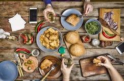 thanksgiving Bocados americanos deliciosos celebrando día de la acción de gracias en casa Imagen de archivo libre de regalías