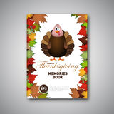 Thanksgiving Book cover, Cartoon of turkey bird for Happy Stock Image