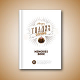 Thanksgiving Book cover, Cartoon of turkey bird for Happy Stock Photo
