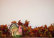 Thanksgiving Border with Turkey Stock Images