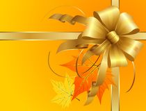 Thanksgiving Bow with autumn leaves. Thanksgiving Bow of golden ribbons with autumn leaves. The main objects as usual are layered separately and hi res jpeg Royalty Free Stock Photos