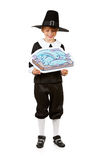 Thanksgiving: Boy Pilgrim Holding Fish Drawing. Series with children dressed in costume to celebrate the American Thanksgiving holiday.  Boy as pigrim, girl as Royalty Free Stock Image
