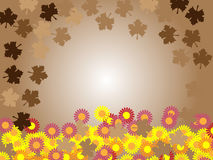Thanksgiving brown background frame leafs. Thanksgiving brown background frame with fall leafs and flowers Royalty Free Stock Photography