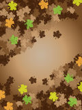 Thanksgiving brown background frame leafs. Thanksgiving brown background frame with fall leafs Royalty Free Stock Image