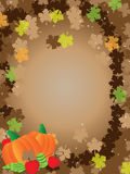 Thanksgiving brown background frame leafs Stock Photography
