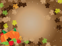 Thanksgiving brown background frame leafs. Thanksgiving brown background frame with fall leafs and shiny little stars and pumpkins and apples and grapes Royalty Free Stock Image