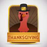 Thanksgiving Button with Turkey wearing a hat, Vector Illustration Stock Image