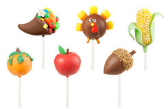 Thanksgiving cake pops. Cornucopia, turkey, corn, pumpkin, apple, acorn. Images isolated on white background with clipping path Stock Image