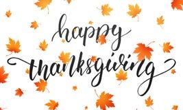 thanksgiving Caligrafia feliz da ação de graças e folhas de outono de queda Fundo do dia da ação de graças Fotografia de Stock Royalty Free
