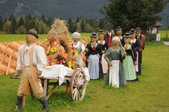 Thanksgiving. Called  Bauernherbst in Salzburger Land in Austria. You find dressed and decorated straw dolls in every little village to thank for a good harvest Stock Photos