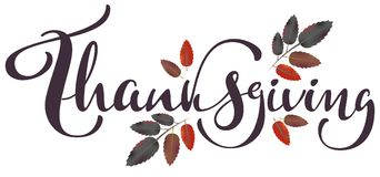 Thanksgiving calligraphy text and autumn aspberry leaf for greeting card Royalty Free Stock Images