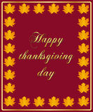 Thanksgiving card. Greeting card for thanksgiving day with autumnal leaves decoration Stock Images