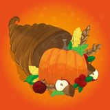Thanksgiving card with decorative pumpkin. colorful design Royalty Free Stock Photo
