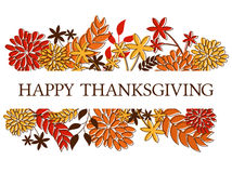Thanksgiving Card Design. Thanksgiving/seasonal design with autumn leaves and flowers isolated on white Stock Image