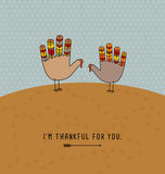 Thanksgiving card design with cute hand print turkeys. Royalty Free Stock Photography
