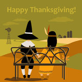 Thanksgiving card with dressed up kids Royalty Free Stock Image