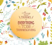 Thanksgiving card floral elements and autumn leaves, acorns Stock Photos