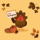 Thanksgiving day turkey card Stock Image