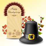 Thanksgiving card and hat with autumn plants Stock Photography