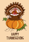Thanksgiving card with pumpkin and turkey bird Stock Photo