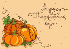 Thanksgiving card with pumpkins Stock Image