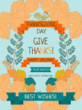 Thanksgiving card template Royalty Free Stock Images
