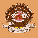 Thanksgiving card with turkey bird Stock Photo
