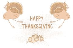 Thanksgiving card with turkey and pumpkin Royalty Free Stock Photography