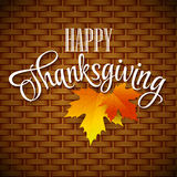 Thanksgiving Card wicker basket background. Vector Royalty Free Stock Photo