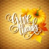 Thanksgiving Card wicker basket background. Vector Stock Photos