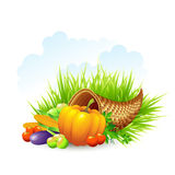 Thanksgiving Card wicker basket background. Vector Stock Photo
