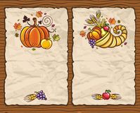 Thanksgiving cards 1. Beautiful Holiday paper arrangements with the space for your own text on the wooden background Royalty Free Stock Images