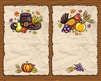 Thanksgiving cards 2. Beautiful Holiday paper arrangements with the space for your own text on the wooden background Stock Photos