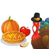 Thanksgiving cartoon illustration. Thanksgiving day turkey and traditional thanksgiving food, cartoon illustration. Vector Stock Photo