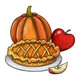 Thanksgiving cartoon illustration. Traditional Thanksgiving food, colorful sketch illustration. Vector Royalty Free Stock Images