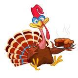 Thanksgiving Cartoon Turkey bird greeting card. Vector illustration of funny turkey character clipart. Stock Illustration