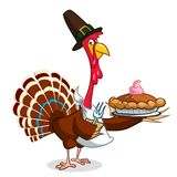 Thanksgiving Cartoon Turkey bird holding fork and pie. Vector illustration of funny turkey character clipart. Vector Illustration