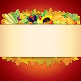 Thanksgiving Celebration. Illustration. Banner with Vegetable Crop, Maple Leaf and Space for Text Royalty Free Stock Images