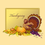 Thanksgiving celebration banner with turkey, pumpkin and corn Royalty Free Stock Image